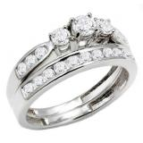 1.00 Carat (ctw) 14k White Gold Round Diamond Ladies 3 Stone Bridal Engagement Ring Matching Band Set