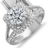 Certified 2.50 Carat (ctw) 18K White Gold Round Diamond Halo Style Engagement Bridal Ring