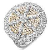 2.15 Carat (ctw) 14k White & Yellow Gold Round Diamond Ladies Cocktail Ring