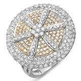 2.15 Carat (ctw) 14k White & Yellow Gold Round Diamond Ladies Cocktail Ring