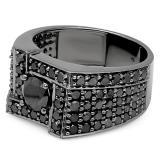 4.50 Carat (ctw) 10k Black Rhodium Plated White-Gold Black Diamond Men's Ring