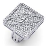 3.00 Carat (ctw) 14k White Gold Round Diamond Ladies Cocktail Right Hand Ring 3 CT