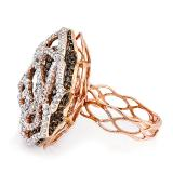 5.68 Carat (ctw) 14k Rose Gold White & Champagne Round Diamond Ladies Cocktail Right Hand Ring