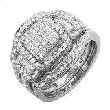 1.80 Carat (ctw) 14K White Gold Princess Round & Baguette Diamond Ladies Bridal Engagement Ring Three Piece Set