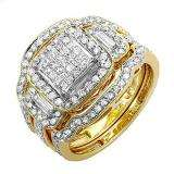 1.80 Carat (ctw) 14k Yellow Gold Princess Round & Baguette Diamond Ladies Bridal Engagement Ring Three Piece Set