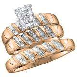0.05 Carat (ctw) 10K Rose Gold Round Diamond Men & Ladies Trio Set