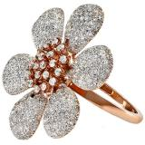1.55 Carat (ctw) 14k Rose Gold Round Diamond Ladies Flower Cocktail Right Hand Ring 1 1/2 CT