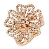 0.75 Carat (ctw) 14K Rose Gold Round Diamond Ladies Cocktail Ring 3/4 CT
