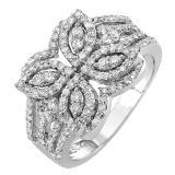 1.00 Carat (ctw) 14k White Gold Round Diamond Ladies Cocktail Right Hand Ring
