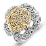 1.25 Carat (ctw) 14k White & Yellow Gold Round Diamond Ladies Flower Cocktail Right Hand 1 1/4 CT