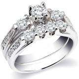 1.40 Carat (ctw) 14k White Gold Round Diamond Ladies Bridal Engagement Ring Set