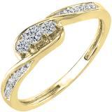 0.25 Carat (ctw) 18k Yellow Gold Round Diamond Ladies 3 stone Engagement Promise Ring 1/4 CT