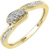 0.25 Carat (ctw) 10k Yellow Gold Round Diamond Ladies 3 stone Engagement Promise Ring 1/4 CT