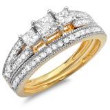 1.00 Carat (ctw) 18k Yellow Gold Princess Cut 3 Stone Diamond Ladies Engagement Bridal Ring Set Matching Band 1 CT