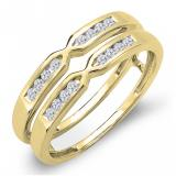 0.25 Carat (ctw) 10K Yellow Gold Round Diamond Ladies Anniversary Wedding Band Guard Double Ring 1/4 CT