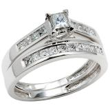 0.75 Carat (ctw) 14k White Gold Princess Diamond Ladies Bridal Engagement Ring Matching Band Set