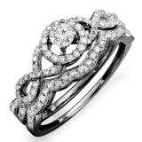 0.50 Carat (ctw) Black Rhodium Plated 10k White Gold Round Diamond Ladies Halo Style Bridal Engagement Ring Matching Band Set 1/2 CT