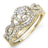 0.50 Carat (ctw) 10k Yellow Gold Round Diamond Ladies Halo Style Bridal Engagement Ring Matching Band Set 1/2 CT