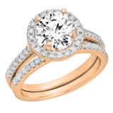 0.50 Carat (ctw) 10K Rose Gold Round Diamond Ladies Halo Style Bridal Semi Mount Engagement Ring With Matching Band Set 1/2 CT (No Center Stone)