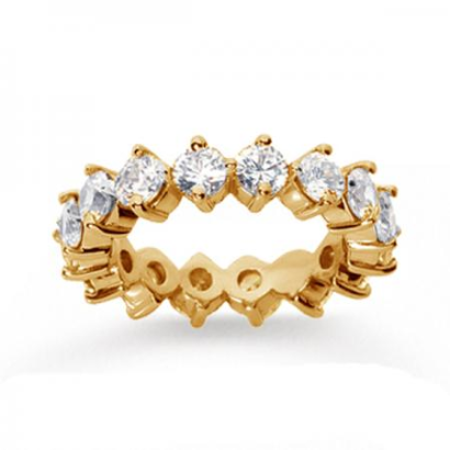 14K Gold Real Diamond Eternity Round Open prong band (4.00 CT)