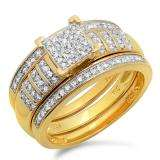 0.36 Carat (ctw) 18K Yellow Gold Plated Sterling Silver Round White Diamond Womens Micro Pave Engagement Ring Trio Bridal Set 1/3 CT