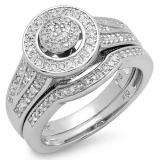 0.50 Carat (ctw) Sterling Silver White Diamond Round Ladies Bridal Engagement Ring Set 1/2 CT