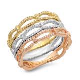 0.54 Carat (ctw) 14K White Yellow & Rose Gold Round White Diamond Ladies Infinity Crossover Swirl Anniversary Wedding Band 1/2 CT